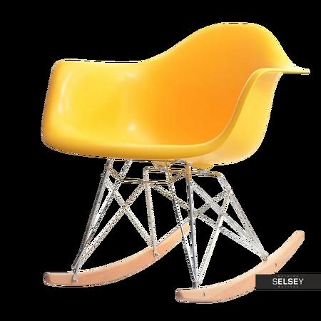Fotel bujany MPA ROC żółty na drewnianych płozach