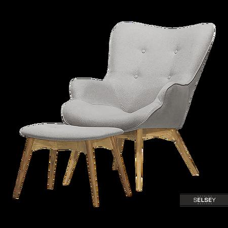Fotel Blomster z podnóżkiem szary