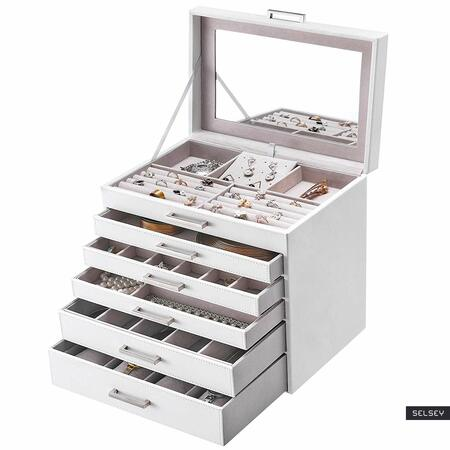 Szkatułka na biżuterię Quartz biała na zegarki, pierścionki i kolczyki 5 szuflad