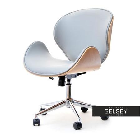 Fotel biurowy Boom bukowo-szary z drewna i skóry ekologicznej