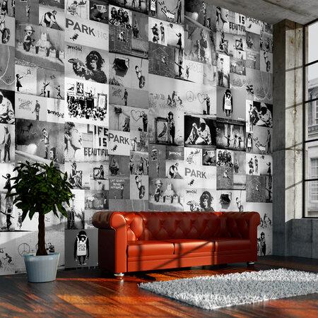 Fototapeta - Banksy - szary kolaż 50x1000 cm