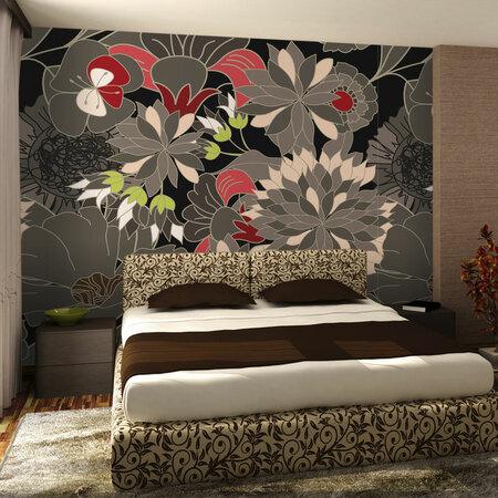 Fototapeta - motyw kwiatowy - szary 200x154 cm