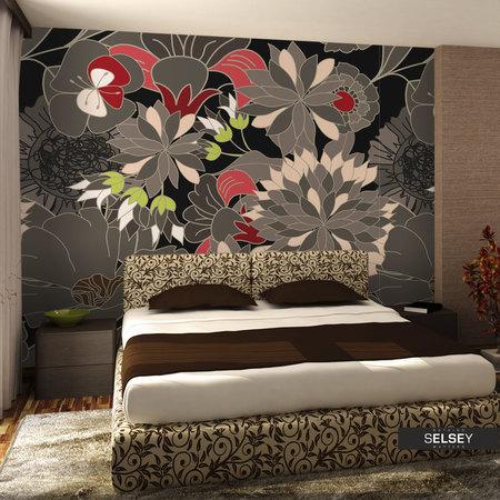 Fototapeta - motyw kwiatowy - szary 350x270 cm