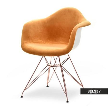 Krzesło MPA rod tap brzoskwiniowo-miedziane tapicerowane