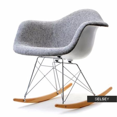 Fotel bujany MPA ROC tap szary designerski bujak z podłokietnikami