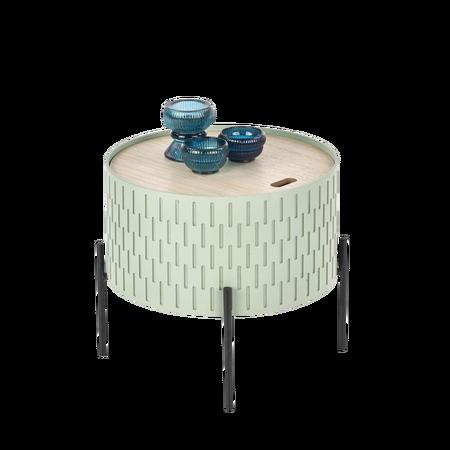Stolik kawowy Avene zielony o średnicy 35 cm z pojemnikiem