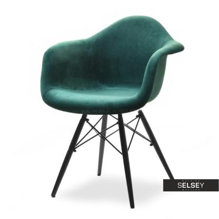 Krzesło MPA wood tap zielono-czarne tapicerowane do jadalni
