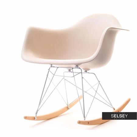 Fotel bujany MPA ROC beżowy designerski bujak z podłokietnikami