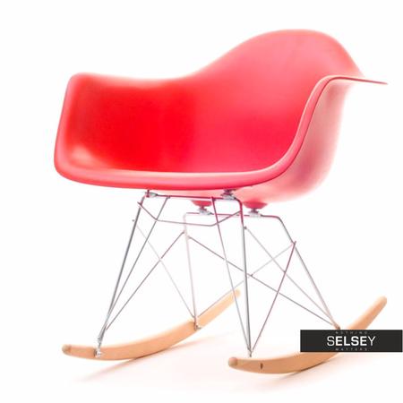 Fotel bujany MPA ROC czerwony designerski bujak z podłokietnikami