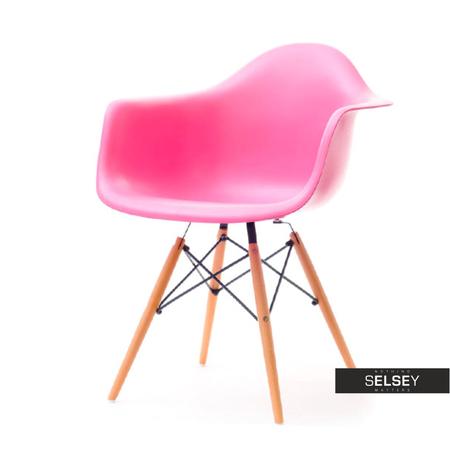 Krzesło MPA wood różowe na drewnianych nogach