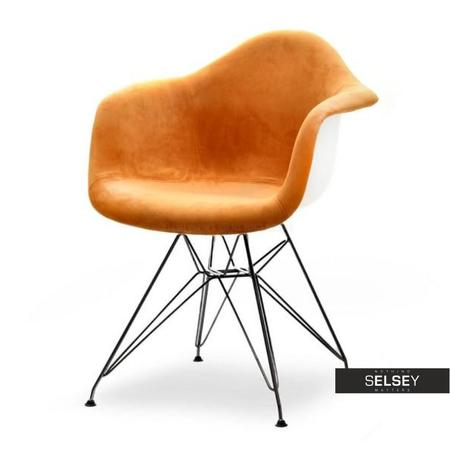 Krzesło MPA rod tap brzoskwiniowo-czarne velvet