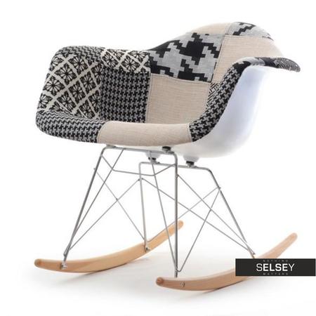 Fotel bujany MPA ROC tap patchwork 2 na bukowych płozach