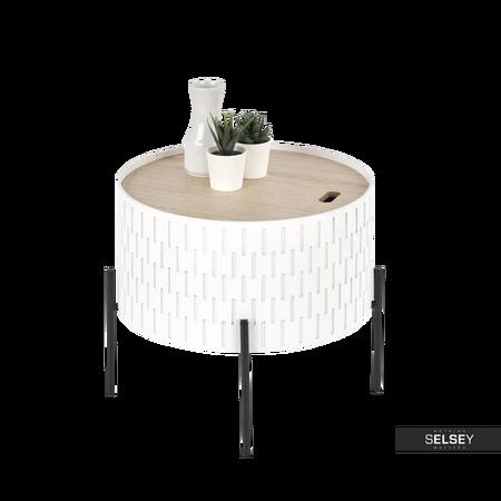 Stolik kawowy Avene biały o średnicy 35 cm z pojemnikiem