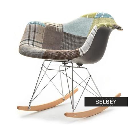 Fotel bujany MPA roc tap patchwork 3 na bukowych płozach