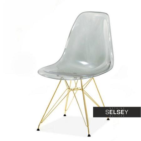 Krzesło MPC rod transparentne dymione na złotej podstawie