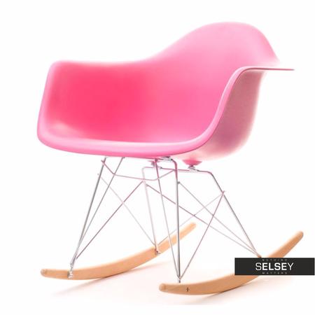 Fotel bujany MPA ROC różowy designerski bujak z podłokietnikami