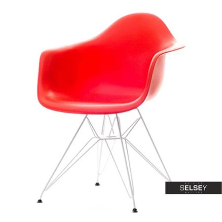 Krzesło MPA rod czerwone na chromowanych nóżkach