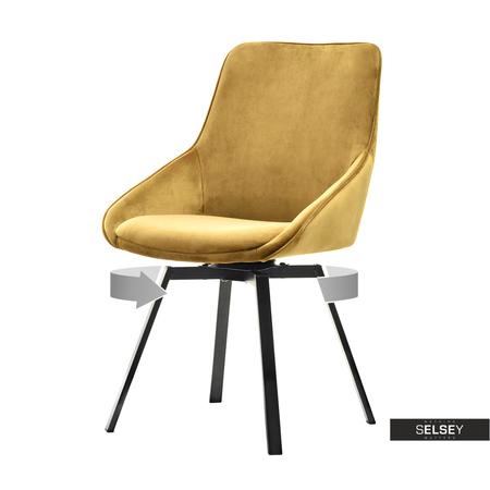Krzesło Sunrise złote na czarnej podstawie
