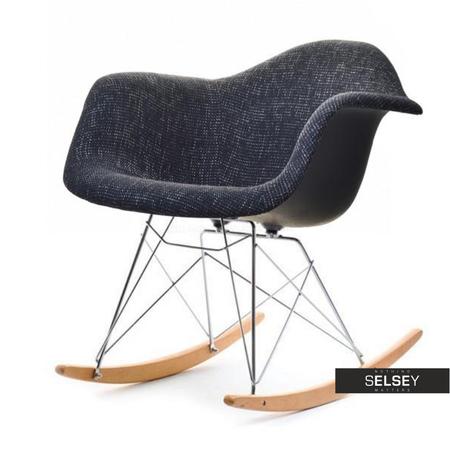Fotel bujany MPA ROC tap glamour czarny na drewnianych płozach