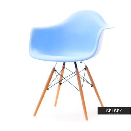 Krzesło MPA wood niebieskie na drewnianych nogach