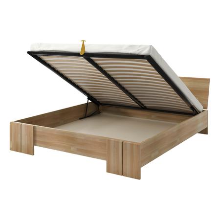 Łóżko Loke z drewna bukowego z pojemnikiem na pościel