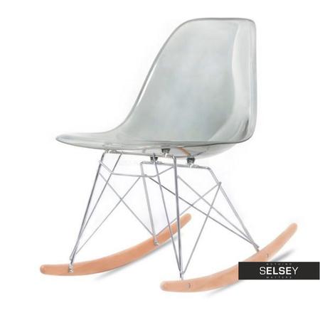 Krzesło bujane MPC roc transparentne dymione do nowoczesnego salonu
