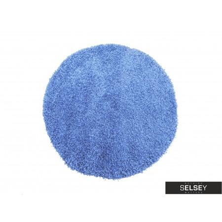 Dywan Shaggy okrągły niebieski
