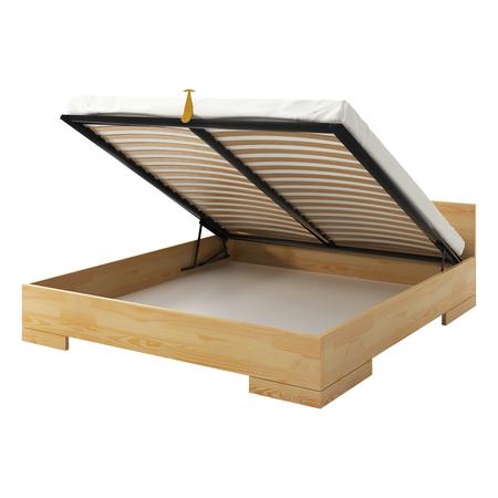 Łóżko Halsa z drewna sosnowego z pojemnikiem na pościel