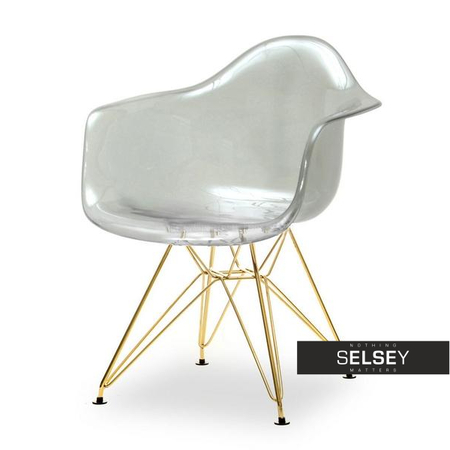 Krzesło MPA rod transparentne dymione na złotej podstawie