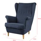 Fotel uszak Malmo granatowy w tkaninie Easy Clean na bukowych nóżkach