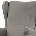 Fotel uszak Malmo ciemnoszary w tkaninie Easy Clean na czarnych nóżkach