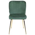 Zestaw dwóch krzeseł tapicerowanych Alruba zielone na złotych nogach