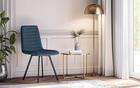 Zestaw dwóch krzeseł tapicerowanych Kimmy granatowe na metalowych czarnych nogach