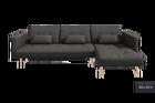 Narożnik z funkcją spania Mru Mru grafitowy z pojemnikiem na drewnianych nóżkach