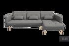 Narożnik z funkcją spania Mru Mru z pojemnikiem szara plecionka na drewnianych nóżkach