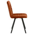Zestaw dwóch krzeseł tapicerowanych Kimmy miedziane na metalowych czarnych nogach