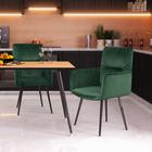 Krzesło Mosterio z podłokietnikami zielony velvet