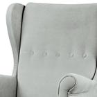 Fotel uszak Malmo jasnoszary w tkaninie Easy Clean na bukowych nóżkach