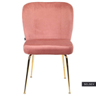 Krzesło tapicerowane Alruba różowe na złotych nogach