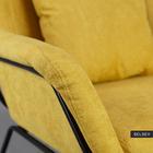 Fotel Tale kubełkowy żółty na czarnej podstawie z wyprofilowanym oparciem